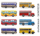 vector bus icons | Shutterstock .eps vector #163653218