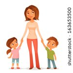 cute cartoon illustration of a young mother with two children, holding hands