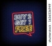buy 2 get 1 free neon signs...   Shutterstock .eps vector #1636536949