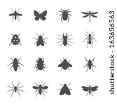 insects icon set | Shutterstock .eps vector #163656563