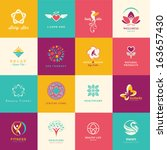 set of flat icons for beauty ... | Shutterstock .eps vector #163657430