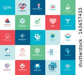 set of icons for medicine ... | Shutterstock .eps vector #163657433