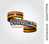 welcome to uganda flag.... | Shutterstock .eps vector #1636575946