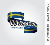 welcome to sweden flag.... | Shutterstock .eps vector #1636575970