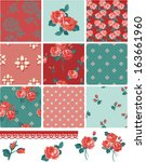 pretty floral rose seamless... | Shutterstock .eps vector #163661960