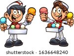 boy and girl selling ice cream... | Shutterstock .eps vector #1636648240