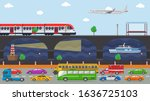 city transport concept vector... | Shutterstock .eps vector #1636725103