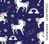 seamless pattern with unicorns  ...   Shutterstock .eps vector #1636749523