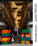 Small photo of London, United Kingdom - August 18 2019: The modern art and lighting that decorates Quadrant Arcade shopping precinct on Picadilly