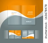 booklet design template white curve line element orange grey background
