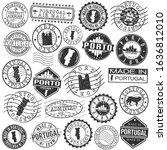porto portugal set of stamp.... | Shutterstock .eps vector #1636812010