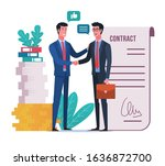 business people shaking hands...   Shutterstock .eps vector #1636872700