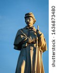 Close-up of the Private Soldier Monument at the Antietam National Cemetery in Sharpsburg, Maryland, USA
