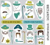 photo booth party set   glasses ... | Shutterstock .eps vector #163691288