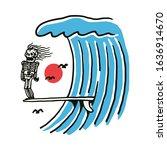 skeleton summer surf beach line ...   Shutterstock .eps vector #1636914670