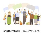 group of joyful people with... | Shutterstock .eps vector #1636990576