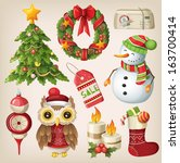 set of christmas items and... | Shutterstock .eps vector #163700414