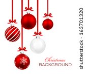 Christmas Balls With Red Ribbo...