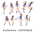 girls soccer players characters ... | Shutterstock .eps vector #1637018236