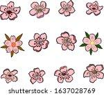 cherry blossom vector... | Shutterstock .eps vector #1637028769