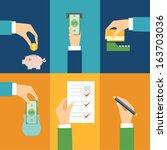 vector set of hands   clients... | Shutterstock .eps vector #163703036