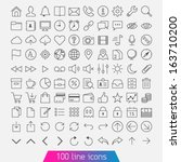100 Line Icon Set. Trendy Thin...