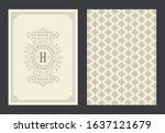 vintage ornament greeting card...   Shutterstock .eps vector #1637121679