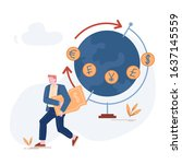 young businessman carry dollar...   Shutterstock .eps vector #1637145559