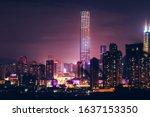 Beautiful nightscape of shenzhen city in China