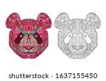 ethnic zentangle ornate... | Shutterstock .eps vector #1637155450