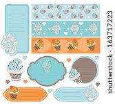 cute scrapbook element set | Shutterstock .eps vector #163717223