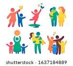 happy family icon multicolored...   Shutterstock .eps vector #1637184889