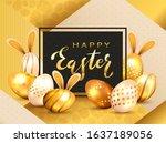 golden lettering happy easter...   Shutterstock .eps vector #1637189056
