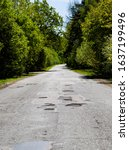 Old Paved Leaky Road In The...