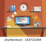 interior of working place  | Shutterstock .eps vector #163721084