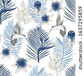 tropical seamless vector... | Shutterstock .eps vector #1637295859