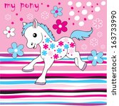 Little Sweet Cute Pony Vector...