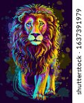 Lion. Artistic  Neon Color ...