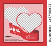 valentine social media template ... | Shutterstock .eps vector #1637400673