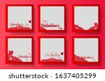 set frame happy valentine's day ...   Shutterstock .eps vector #1637405299