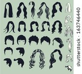 hair silhouettes  woman... | Shutterstock .eps vector #163746440