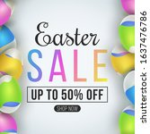 easter big sale poster. eggs... | Shutterstock .eps vector #1637476786
