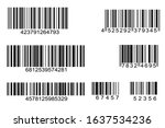 set of barcode icon vector with ...