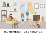 happy family characters at home ... | Shutterstock .eps vector #1637553436