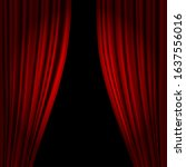 open theatrical stage curtain.... | Shutterstock .eps vector #1637556016