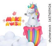 cute cartoon unicorn character... | Shutterstock .eps vector #1637605426