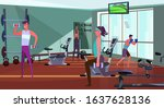 sporty people exercising in gym....   Shutterstock .eps vector #1637628136