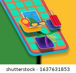 icons on the mobile phone...   Shutterstock . vector #1637631853