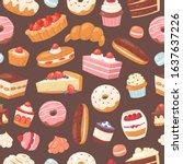 sweet pastry seamless vector... | Shutterstock .eps vector #1637637226