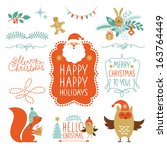 Set Of Lettering And Christmas...